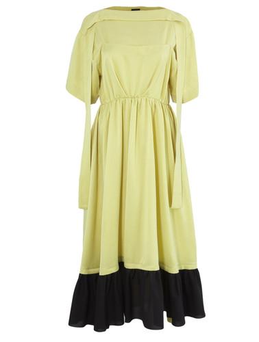 Lemon Yellow Midi Dress With Cutout In Back   Delia