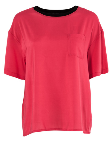 Red Short Sleeved  Airy Viscose Top | Agija