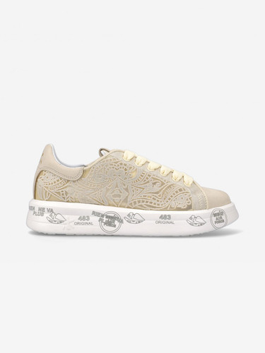 Premiata Beige Lace With Embroidery Sneakers | Belle