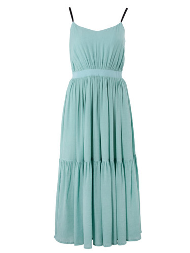 Mint Fully Pleated Maxi Dress | Asling