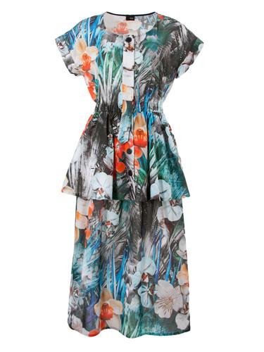 Cotton Batiste Midi Dress With Peplum | Orhideja