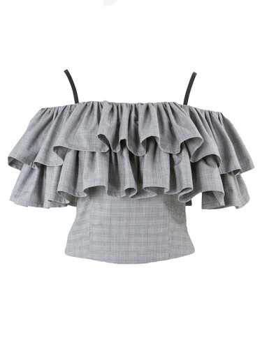 Grey Plaid  Off-The-Shoulder Ruffled Top | Melinda