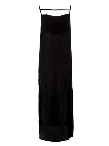 Black Fully Pleated Long Top With Side Cuts | Fiona