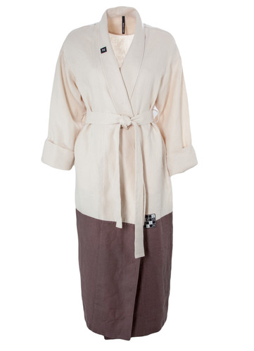 Ivory and Brown Color Block Linen Robe | Pitt