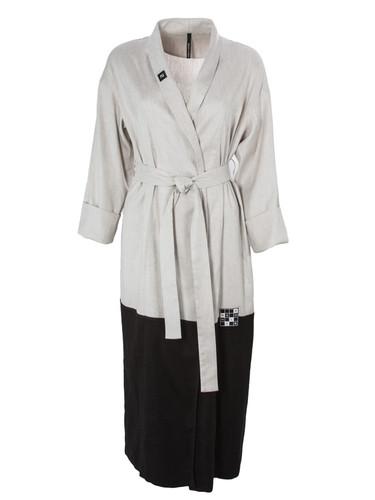 Black and Grey Color Block Linen Robe | Pitt