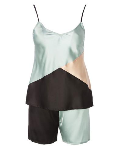 Color Block Vegan Silk-Sarin Pajama Set    Keanu
