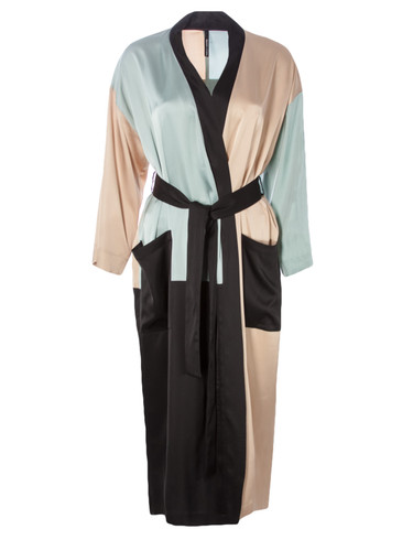 Luxury Color Block Vegan Silk Robe  | Efron