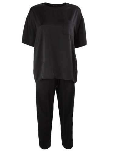 Luxury Black Vegan Silk  Loungewear Set | Farrell