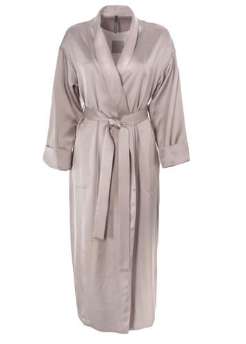 Luxury Beige Vegan Silk Robe | Grant