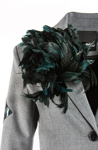 Dark Emerald Flower Brooch With Feathers   Adele