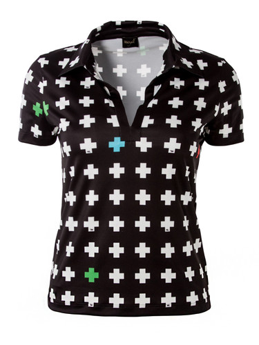 Crosses Print Elastic Golf Polo | Par Top