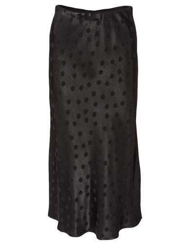 Black Polka Dot Satin  Midi Length Skirt   MONA