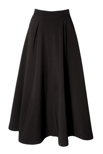 Black Warm Softshell  Maxi Skirt With Zipper   ESTHER