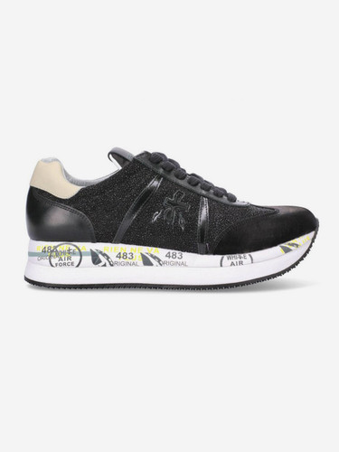 Premiata  Black Leather Sneakers With Sparkling Effect | Conny