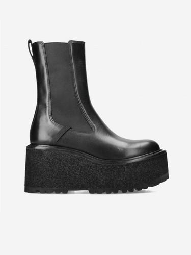Premiata Black Leather Platform Boots   21FM6118