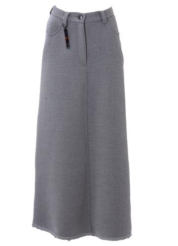 Grey Maxi Skirt With Row Cut    ARYA