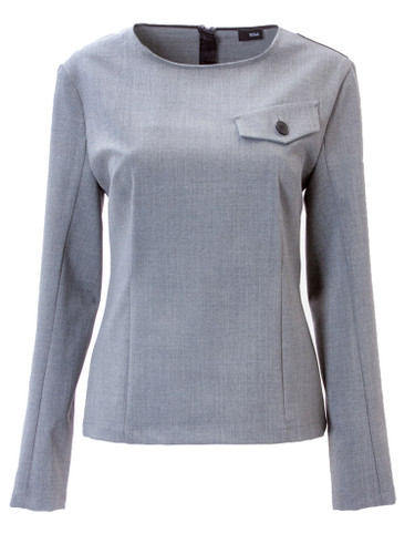 Gray Fitted Blouse With Zip Back | Adriane