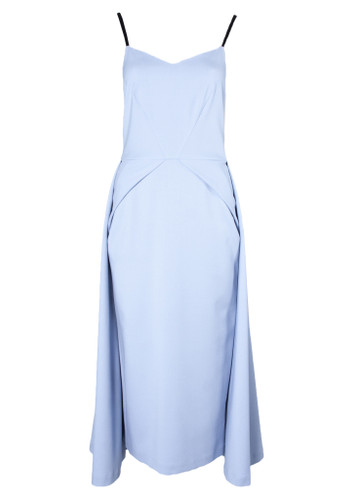 Powder Blue Slim Fit  Midi Dress  With Overskirt Detail | JOZEPHINE
