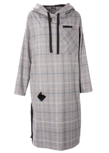 Gray Plaid Oversized Fit  Tunica With Splits    JULIANA