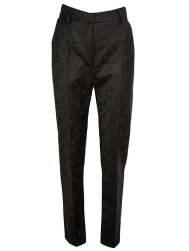 Black Tailored Floral Jacquard Straight-Leg Trousers   Ameerah