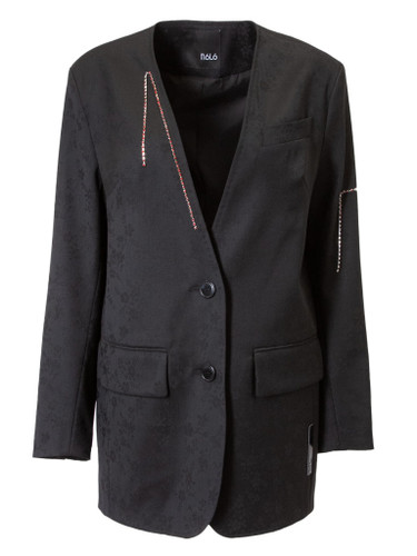 Black Tailored Semi-fitted Blazer With  Gemstone Decor   EMBER