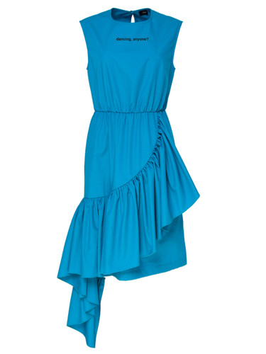 Ocean  Dress With Print And Ruffles Vertical Detail | Silvia