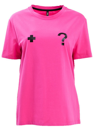Fuchsia T-Shirt With Cross And Question Mark Print | Aella