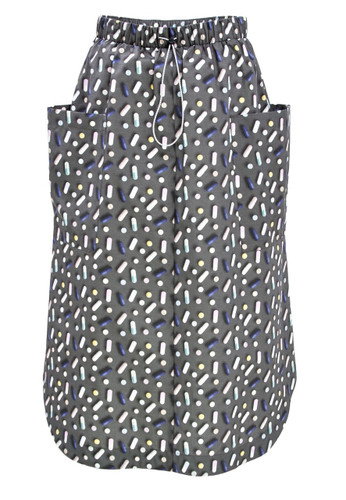 Gray Midi Skirt With Pills Print And Waist Tightening Detail   Casey