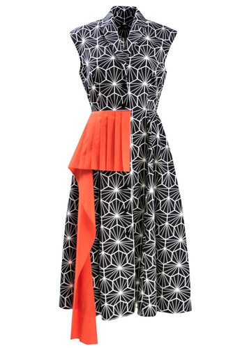 Black Midi Dress With White Graphic Print And Orange Folds Detail | Jette
