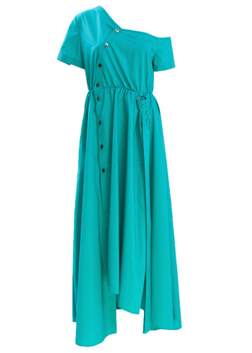 Turquoise Maxi Dress With Open Shoulder And Buttons Detail  Belle