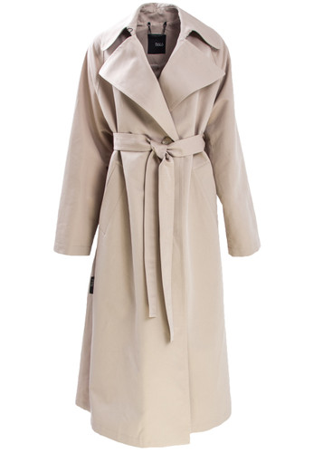 Beige Trench Coat With Asymmetric Toga-Like Backside | Elmira