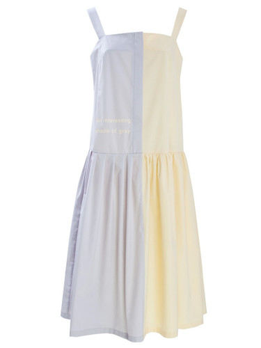 Off Yellow And Lavender Midi Dress With Print | Nora