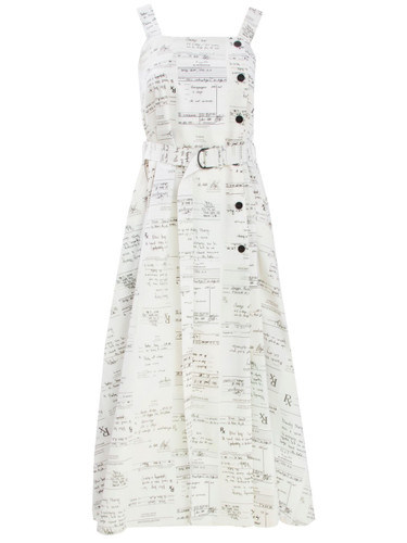 Multi Ivory Maxi Dress With Statement Print And Belt Detail | Stephanie