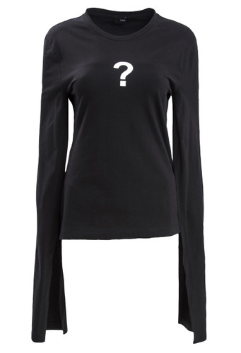 Black Top With Prolonged Sleeves And Question Mark Print | Ann