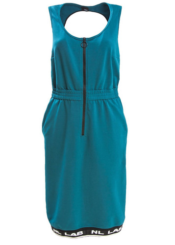 Petrol Midi Sweat Dress With Back Cut-Out And Rubber Bottom  | Ingrid