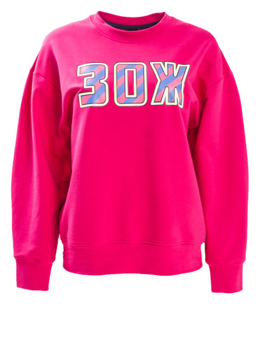 Fuchsia Sweat Pullover With Trendy Large Print | 3O2H