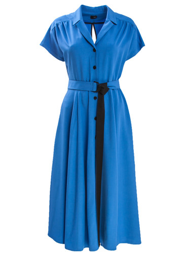 Blue Midi Dress With Belt And Back Cut Detail  | Melanie