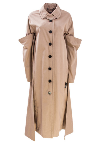Camel Trench Coat With Layered Sleeves And Backside  | Olive