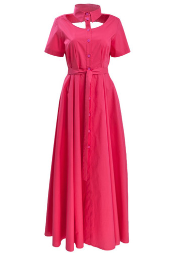 Fuchsia Belted Maxi Dress With Collar And Chest Cut-out Detail   Pepper