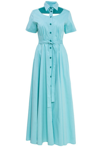 Sky Blue Belted Midi Dress With Collar And Chest Cut-out Detail | Pepper
