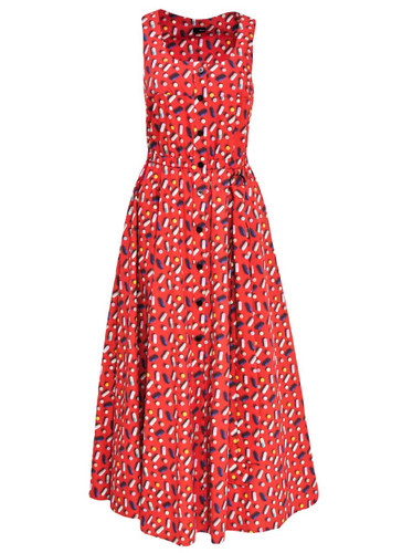 Red Midi Dress With Trendy Print And Belt Detail | Jacqveline