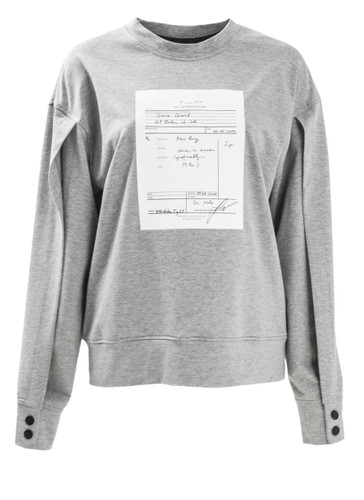 Gray Sweat Pullover With Print And Buttoned Open Sleeve | Prescriptions