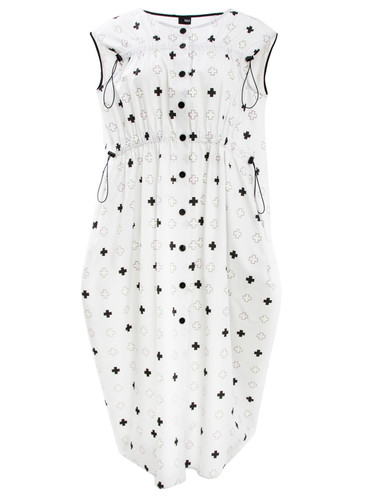 Off White Midi Dress With Trendy Print and Tightening Details   Marga