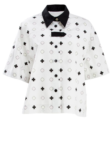 Off White Shirt With Trendy Print and Black Collar | Soda