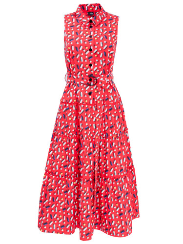 Red Midi Dress With Trendy Print And Upper Back Cut-Out Detail | Gertrude