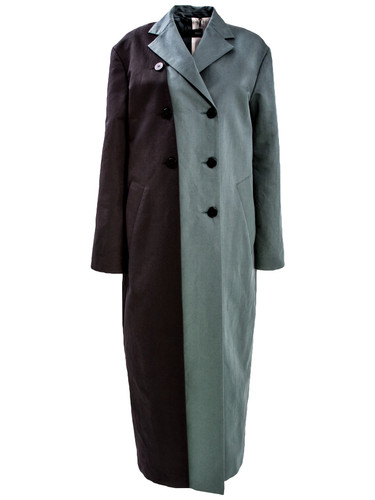Black and Green Two Colored Coat With Extra Layer Detail| Donna