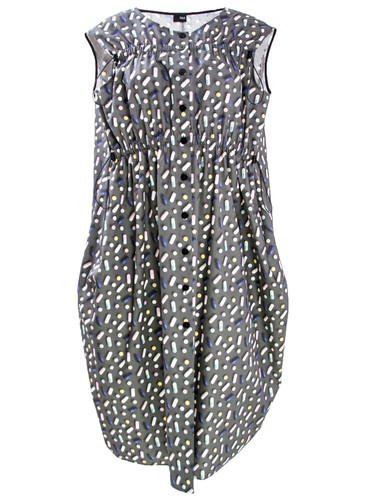 Gray Midi Dress With Trendy Print and Tightening Details   Marga