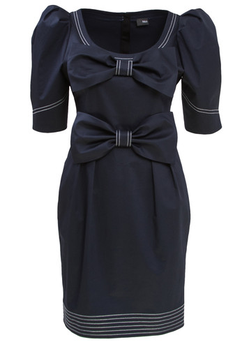Blue Midi Dress With Puff Sleeves And Bows Detail | Hedviga