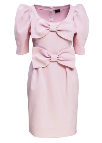 Rose Midi Dress With Puff Sleeves And Bows Detail | Hedviga