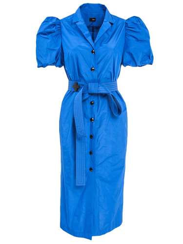 Blue Buttoned Midi Dress With Puff Sleeves And Belt  Andrea